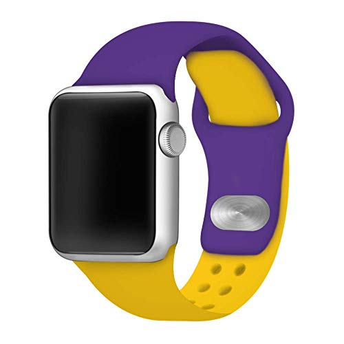 (Silicone Sport Band Compatible with 42mm and 44mm Apple Watch (Purple/Yellow, 42mm/44mm))