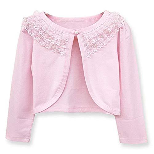 Girls Long Sleeve Bolero Jackets Short Cardigan Shrug Lace Flower Bead Shawl Pink ()