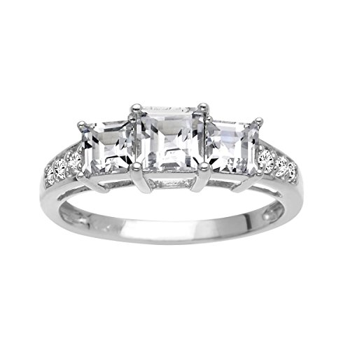 1 3/4 ct Created White Sapphire Ring in 10K White Gold Size 7 by Finecraft