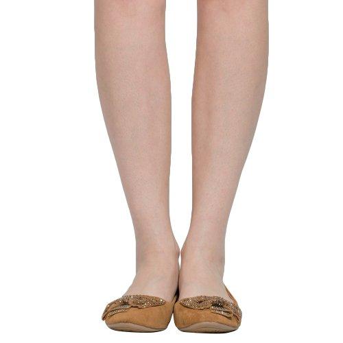 Ballerine Da Donna Borchiato Con Accenti A Fiocco Antiscivolo Su Scarpe Comfort Tan
