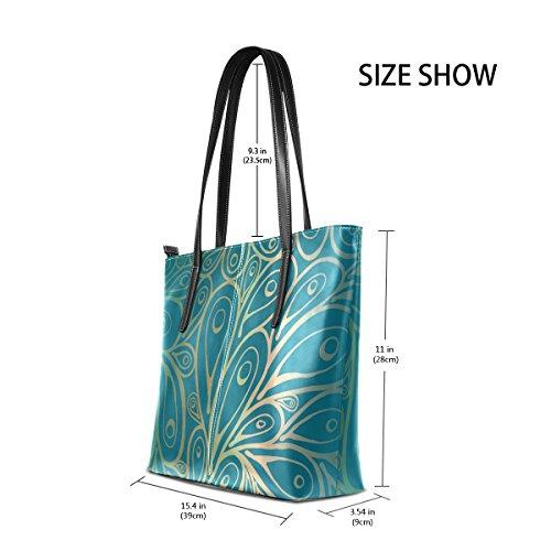 COOSUN Doodle Peacock Federn Muster Farbverlauf Blau PU Leder Schultertasche Handtasche und Handtaschen Tasche für Frauen xoW34Mj3P