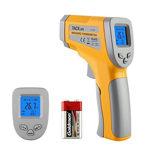 Tacklife Infrared Thermometer, IT-T04 Advanced Non-contact -58°F~1022°F (-50°C~550°C) Digital Temperature Gun with Battery Monitoring Adjustable Emissivity for Cooking & Brewing, Yellow and Gray