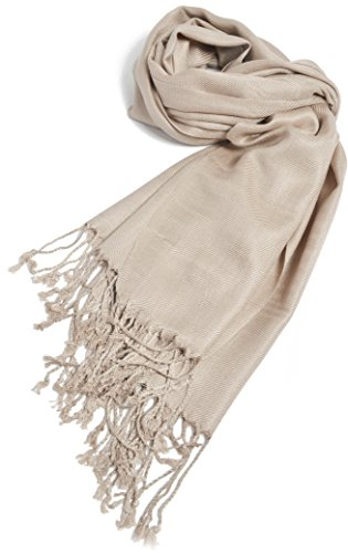 (Premium Large Soft Silky Pashmina Shawl Wrap Scarf in Solid Colors (Light)