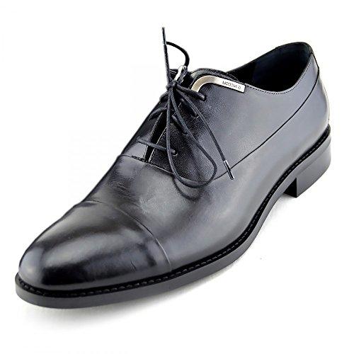 Herren Neu Echt Leder Lace up Jungen Casual-Smart Arbeiten Office Formal Dress Schuhe Schwarz