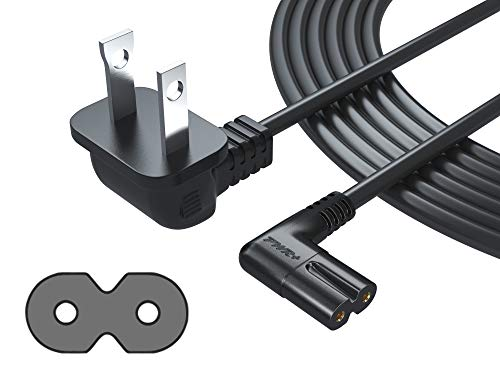 [UL Listed] Pwr+ Extra Long 12 Ft 2-Prong AC Wall 2 Slot Power Cord L-Type IEC320 C7 (Figure 8) for Samsung LED LCD TV Smart Monitor, Xbox One-S X, PS4 Console Cable - 3903-000853 3903-000599