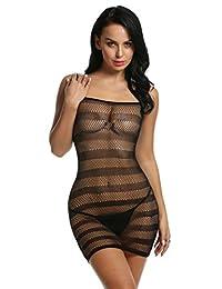Avidlove Womens Fishnet Lingerie Striped Mini Dress Strap Chemise