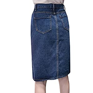 Tanming Women's Casual High Waist Button Front Midi Maxi Pencil Denim Jean Skirt