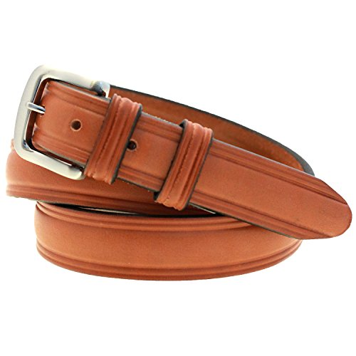 Made In USA Mens 1 1/4 Domed Belt London Tan Bridle Leather Double Loops Size 34