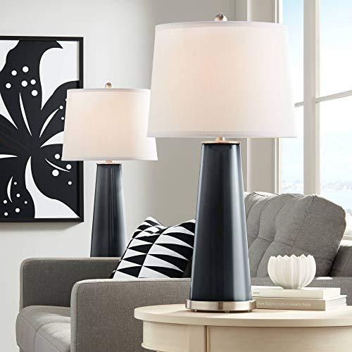Column Table Black Lamp (Leo Modern Table Lamps Set of 2 Black of Night Glass Tapered Column Plain White Drum Shade for Living Room Family Bedroom - Color + Plus)