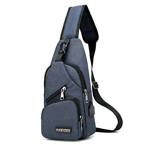 For Bag Shoulder Kigurumi Pockets Blue Backpack Chest Men Sling WYFwBwZzqR