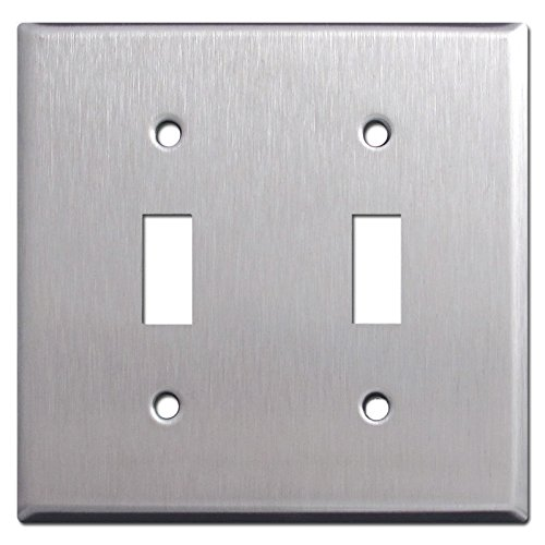 Brushed Satin Nickel Stainless Steel Wall Covers Switch Plates & Outlet Covers (Double Toggle)