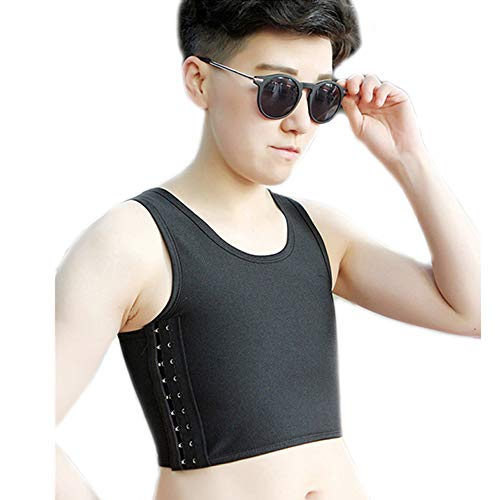 BaronHong Tomboy Trans Lesbian Colorful Mesh Chest Binder Short Tank Top (Black,S)