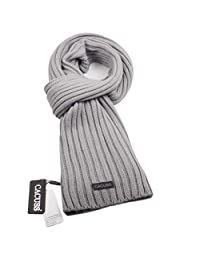 CACUSS Men's Long Thick Cable Cold Winter Warm Scarf Soft Knitted Neckwear(Light gray)
