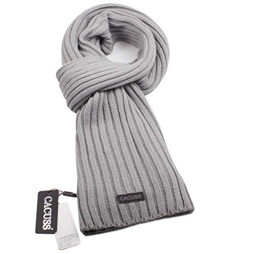 Scarf Knit Mens Wool - CACUSS Men's Long Thick Cable Cold Winter Warm Scarf Soft Knitted Neckwear(Light gray)