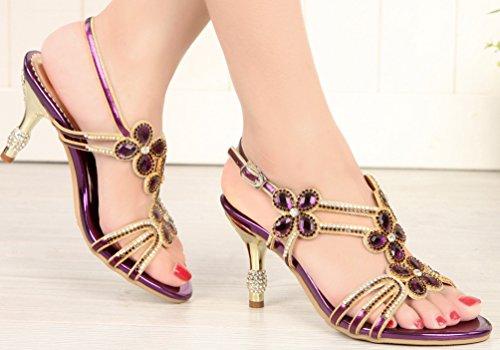 Beautiful L006 Pretty Sexy Glaring Heels Stilettos Salabobo Purple Womens UK5 Sandals ZX 5 Rhinestone HqWEw66v