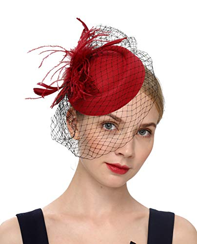 Fascinators Hats 20s 50s Hat Pillbox Hat Cocktail Tea Party Headwear with Veil for Girls and Women (B-Burgundy)