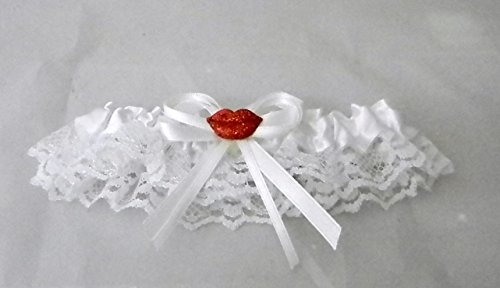 Wedding Reception Red Lips Kiss Sexy Satin Lace Garter White