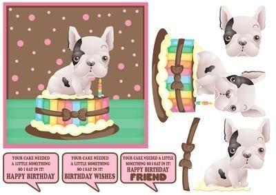 French Bulldog seduto nella torta di compleanno Topper divertente Tanya Hall