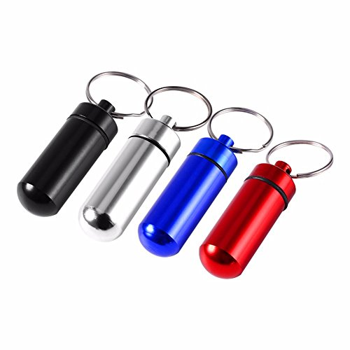 Xbes Waterproof Aluminum Pill Case Pill Box Pill Holder with keychain ,Perfect for Outdoor Camping & Traveling(4 Count)