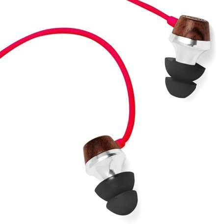 Symphonized ALN Premium Genuine Wood in-Ear Noise-isolating Headphones, Earbuds, Earphones with Mic (Red)
