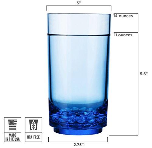 Drinique ELT-TA-BLU-24 Elite Tall Unbreakable Tritan Highball Glasses, 14 oz (Case of 24), Blue by Drinique (Image #4)