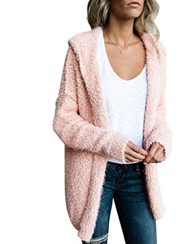 Mintsnow Women's Oversized Open Front Hooded Pockets Cardigan Coat Pink M (Pink Cardigan Hooded)