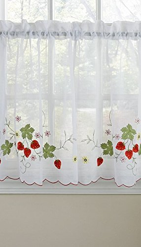 (Embroidered Elegance Strawberry Kitchen Curtain Tier Pair (58