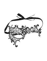 Women's Mask, Venetian Half Face Metal Rhinestone Mask Masquerade Party Mask Black