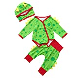 0-24 Months Christmas Party Newborn Baby Boys Girls Romper Set Cotton Dinosaur Dot Jumpsuit Pants Hat Outfits (Green, 0-6 Months)