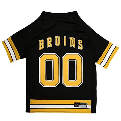 NHL Boston Bruins Jersey for Dogs & Cats, Small. - Let Your Pet be a Real NHL Fan! -