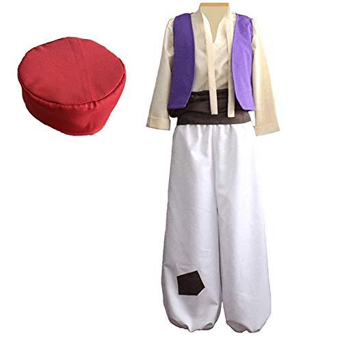 Crubelom Men's Arabian Prince Halloween Costume Aladdin Street Rat Suits (L) White -