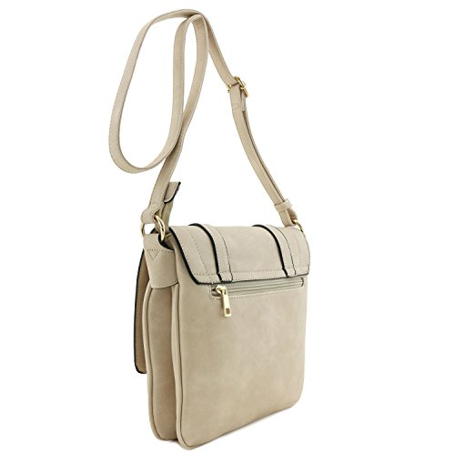Double Flapover Compartment Bag Crossbody Large Beige Dusty BRBzrdqxEw