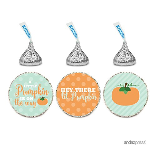 Andaz Press Chocolate Drop Labels Trio, Baby Shower, Autumn Fall Lil Pumpkin', 216-Pack, Fits Hershey's Kisses Party Favors, Decor, Decorations