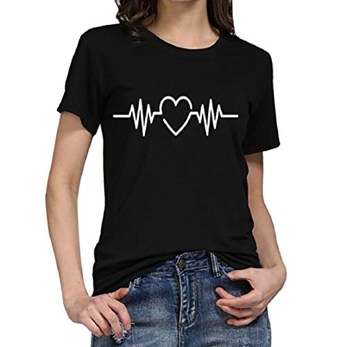 2019 New! Women Heart Beat Print T Shirt Sweetheart Fashion Casual Short Sleeve Round Neck Tee Blouse Top by Lowprofile