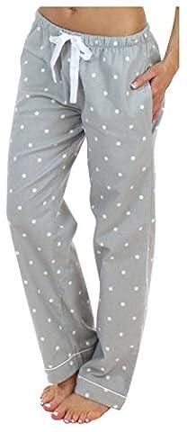PajamaMania Women's Sleepwear Flannel Pajama PJ Pants, Grey Dots (PMF1001-2006-SML) - Flannel Pajama Pants Sleepwear