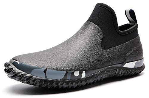 TENGTA Unisex Waterproof Garden Shoes Womens Rain Boots Mens Car Wash Footwear Black