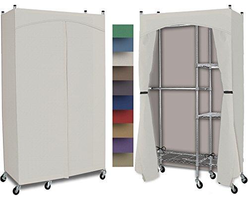 Portable Wardrobe Split Closet w/ Premium Cotton Canvas/Duck Cover (72-75Hx48Wx18D) Cream