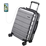 REYLEO Luggage 20 Inch PC+ABS Carry on Luggage Travel Suitcase with USB Charging Port Built-in TSA Lock 8 Silent Spinner Wheels Side Handle, Gray