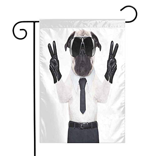 (Pug Fall Scarecrow Harvest Decorative FlagFancy Looking Pug Victory Sign with Both Paws Wearing Cool Black Sunglasses Animal Fun Autumn Pumpkin Garden Yard Decorations W28 x L40 inch Black White)