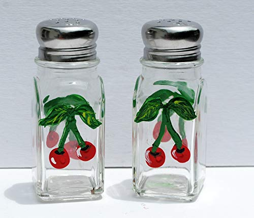 Hand Painted Red Cherry Salt and Pepper Glass Shaker Set, Fruit Kitchen Decor. ()