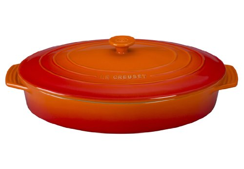 Le Creuset Stoneware Covered Oval Casserole, 3-3/4-Quart, Flame