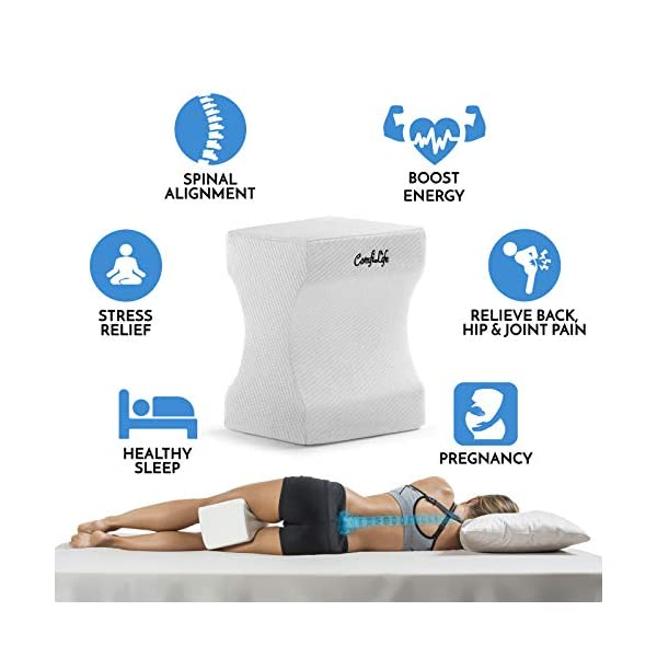 ComfiLife-Orthopedic-Knee-Pillow-for-Sciatica-Relief-Back-Pain-Leg-Pain-Pregnancy-Hip-and-Joint-Pain-Memory-Foam-Wedge-Contour