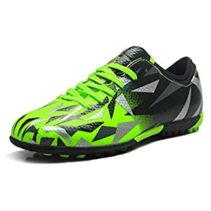T&B Soccer Shoes Cleats Kids Outdoor Sports Football Green Black No.76516-Lv-34-2.5 US