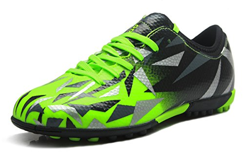 T&B Turf Soccer Shoes Kids Football Trainers Firm Ground Light Green Black No.76516-Lv-32-1.5US -