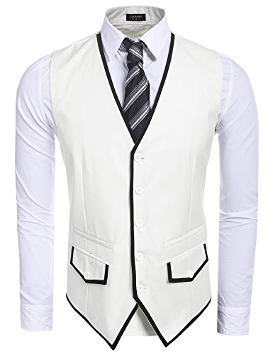 1920s Mens Suits (Coofandy Men's Fashion Single-Breasted Button Down Patchwork Business Suit Vest Waistcoat,White,Medium)