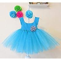 Vestido Crochet con Tul para Bebé Niña Turquesa