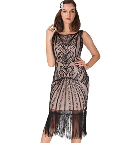 bcc0da712100f Women s 1920s Flapper Dress - Fringe Beaded Vintage Great Gatsby Party Dress