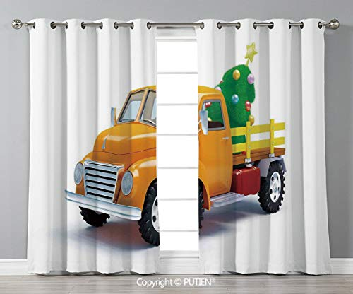 Grommet Blackout Window Curtains Drapes [ Christmas,Yellow Vintage Truck and Decorated Tree with Star Topper Old Farm Motor,White Yellow Green ] for Living Room Bedroom Dorm Room Classroom Kitchen Caf]()
