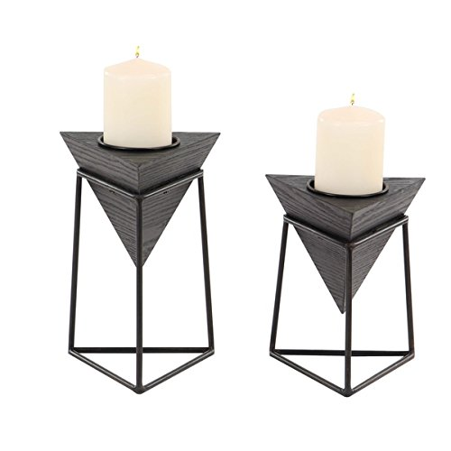 Set of 2 Modern Black Triangular Wooden Candle Holders with