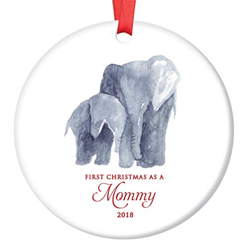 """New Mommy Ornament 2019 First Christmas as a Mommy Cute Mama & Infant Elephant Baby Shower Gift 3"""" Flat Ceramic Holiday New Mom Seasonal Keepsake Present with Red Ribbon & Free Gift Box OR00006"""